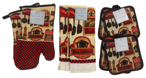 Bon Appetit Bon Jour Oven Mitt Gloves Pot Holders Towels Set of 8 Kitchen French