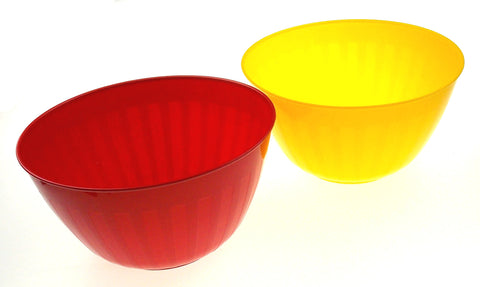 Bradshaw 7 Quart Popcorn Kitchen Party Bowl Lot 2 Red Yellow Plastic Large 11""