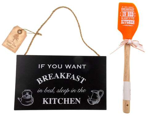 If You Want Breakfast In Bed Sleep In The Kitchen Wood Sign Orange Spatula Set 2 - FUNsational Finds - 1