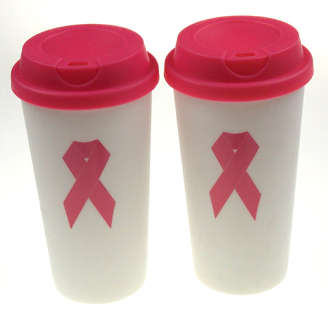 Breast Cancer Awareness Pink Ribbon Travel Mug Coffee Lot of 2 Plastic White
