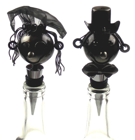 Wine Bodies Bride & Groom Wine Bottle Stopper Set 2 Stainless Metal Wedding Gift