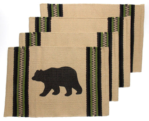 "Bear Silhouette Placemats Set 4 Beige 12"" x 18"" Rustic Lodge Virah Bella Cotton"