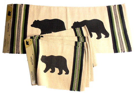 Bear Silhouette Table Runner & Placemats Set 5 Beige Rustic Lodge