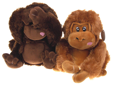 NANCO Gus Gorilla Lot of 2 Brown Plush Stuffed Animal Toy Hook Loop Hands Hides