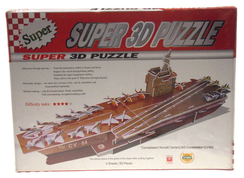 "Super 3D Colored Puzzle USS Constellation CV-64 Aircraft Carrier 13.4"" Long Foam"