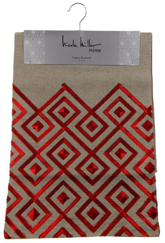 "Kitchen Table Runner Nicole Miller Tan Red Diamond 14"" x 72"" Party Banquet Decor - FUNsational Finds - 1"