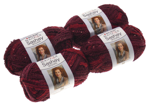 Red Heart Yarn Lot of 4 Skeins Balls Boutique Sashay Sequins Cabernet Red Wine