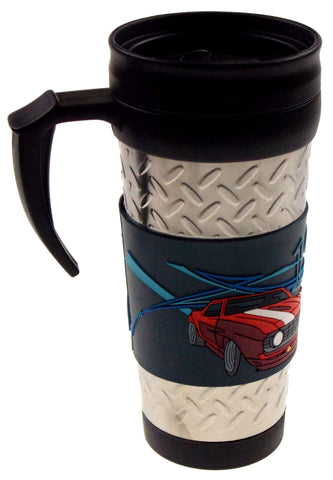 GM 1969 Chevrolet Camaro 69 Red Travel Mug Silver Blue Red Rubber Auto Car - FUNsational Finds - 1