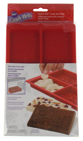 "Silicone Wilton Holiday Candy Melts Stack N Melt Bark Mold Christmas 4""x2.5"""