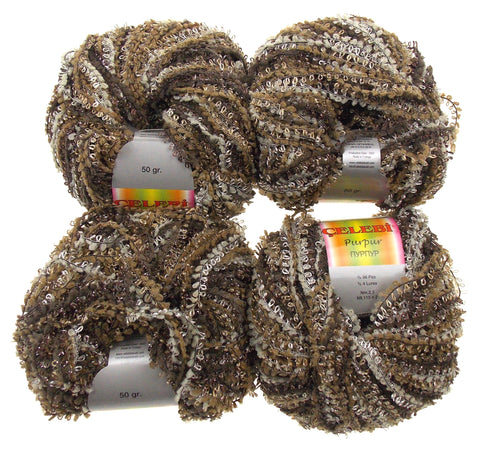 Celebri Purpur High Fashion Yarn Turkey Metallic Sheen Lot 4 Skein Balls Acrylic
