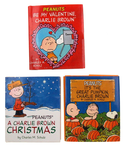 Peanuts Holiday Set 3 Mini Books Charlie Brown Christmas Halloween Valentine Day