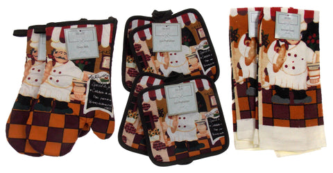 Chef Bread Bakery Oven Mitt Gloves Pot Holders Towels Set 8 Kitchen