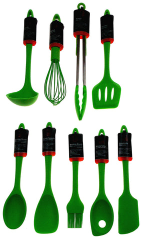Set 9 Green Kitchen Utensil Silicone Chef Craft Tongs Wisk Basting Spoon Spatula - FUNsational Finds - 1