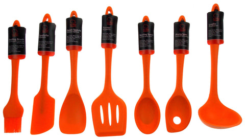 Set of 7 Orange Kitchen Utensil Silicone Chef Craft Mixing Spoon Spatula Turner - FUNsational Finds - 1