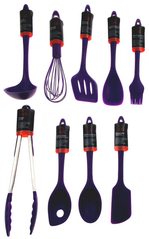 Set of 9 Purple Kitchen Utensils Silicone Chef Craft Ladle Spatula Tongs Turner - FUNsational Finds - 1