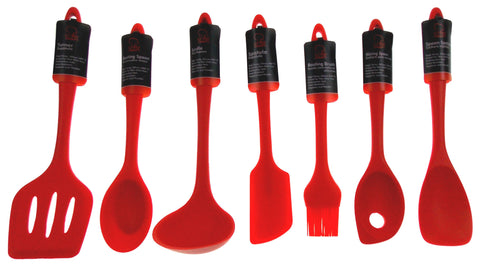 Set 7 Red Kitchen Utensil Silicone Chef Craft Ladle Basting Brush Mixing Spoon - FUNsational Finds - 1