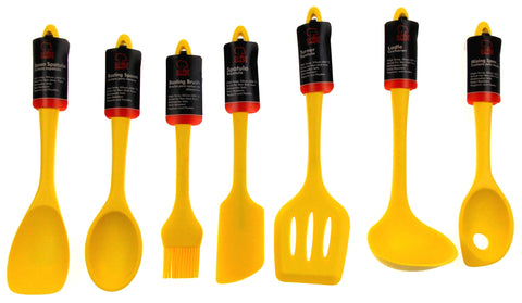 Set of 7 Yellow Kitchen Utensil Silicone Chef Craft Spoon Spatula Basting Brush - FUNsational Finds - 1