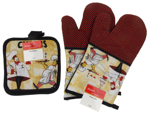 Chef Cafe Drinks Cheers Set 4 Oven Mitt Gloves Pot Holders Home Concepts Kitchen - FUNsational Finds - 1
