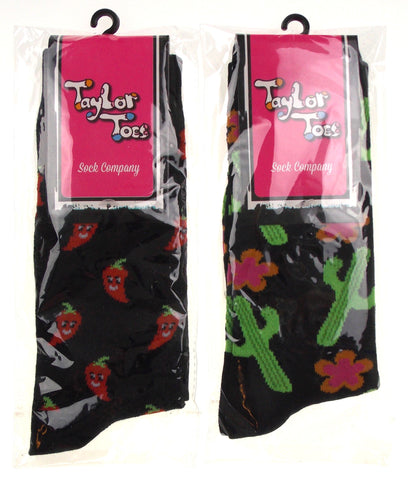 Chili Peppers Smiley Face Cactus Black 2 Pair Lot Womens OSFM Taylor Toes Socks - FUNsational Finds - 1