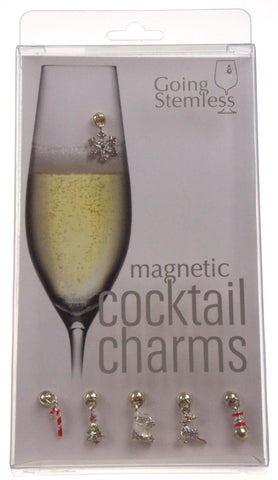 Going Stemless Christmas Holiday Magnetic Cocktail Charms Set 6 Candy Cane Tree