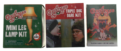 A Christmas Story Triple Dog Dare Flagpole Leg Lamp Playing Cards Lot 3 Mini Kit