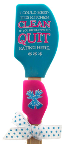 Keep Kitchen Clean Quit Eating Here Blue Pink Spatula Gift Set Wooden Brownlow - FUNsational Finds - 1