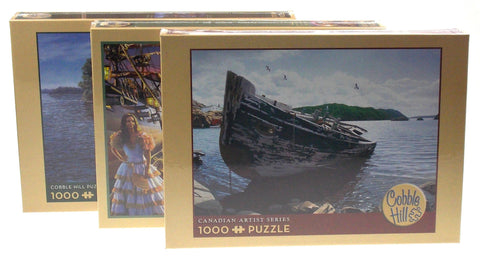 Cobble Hill 1000 Pc Jigsaw Puzzle Set 3 19x28 Awash Shore Lunch Line Pirate Gold - FUNsational Finds - 1