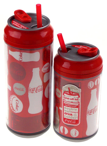 Coca Cola Travel Cups Set 2 Coke Bottles Caps Pattern 12 16 oz Straw Double Wall - FUNsational Finds - 1