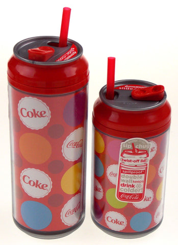 Coca Cola Travel Cups Set 2 Coke Bottle Caps Colors 12 & 16 oz Straw Double Wall - FUNsational Finds - 1