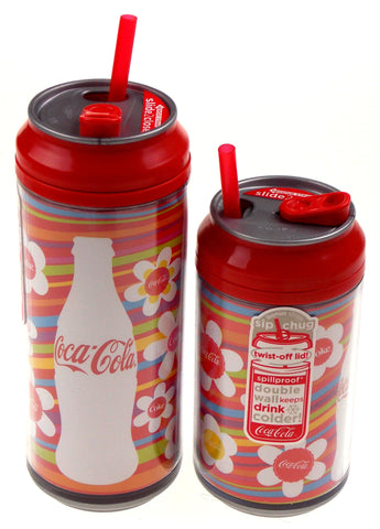 Coca Cola Travel Cups Set 2 Bottle Flowers Stripes 12 & 16 oz Straws Double Wall - FUNsational Finds - 1