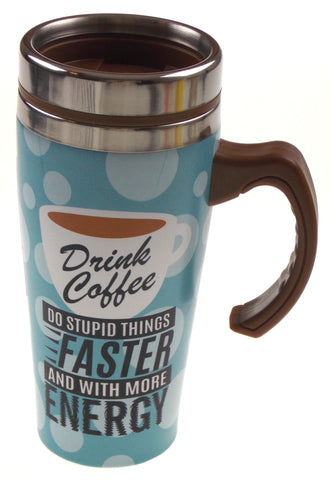 Coffee Travel Coffee Mug Drink Coffee Faster Gift Insulated 16oz Handle Lid