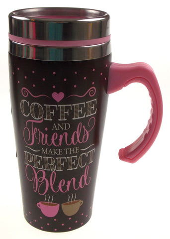 Coffee Mug Friends Make The Perfect Blend Gift Insulated 16oz Travel Pink Brown