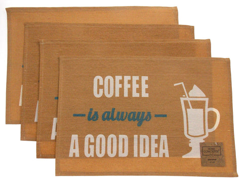 Coffee Is Aways A Good Idea Set of 4 Placemats 13x19 Kitchen Dining Table Fabric