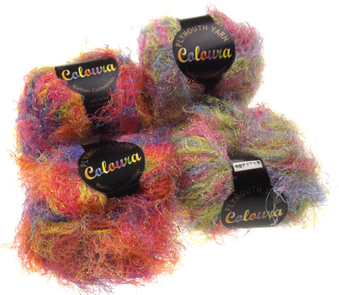 Plymouth Coloura Yarn Italian Collection Lot 4 Skeins Balls Eyelash Metallic