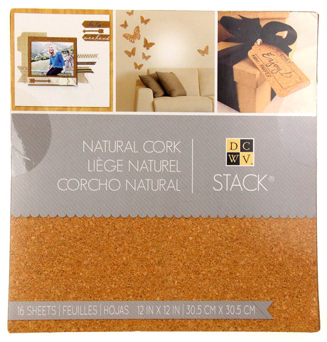 "Stack Natural Cork Book 16 Sheets 12""x12"" Crafts DCWV Wedding Invitations Favors - FUNsational Finds - 1"