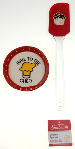 Hail To The Chef Ceramic Spoon Rest Red Cupcake Spatula Set of 2 Valentines Gift - FUNsational Finds - 1