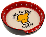 Hail To The Chef Ceramic Spoon Rest Red Cupcake Spatula Set of 2 Valentines Gift - FUNsational Finds - 3