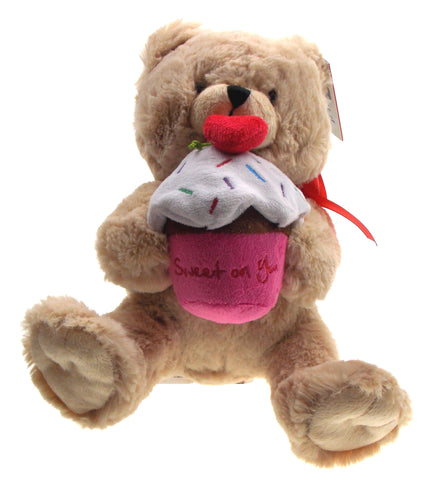 Ganz Teddy Bear Holding Sweet On You Cupcake Plush Heart Stuffed Animal Brown