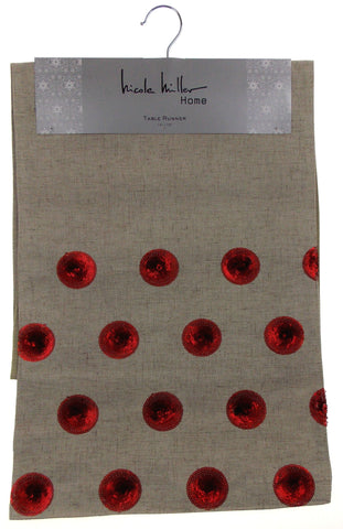 "Kitchen Table Runner Nicole Miller Tan & Red Circles 14""x72"" Party Wedding Decor - FUNsational Finds - 1"