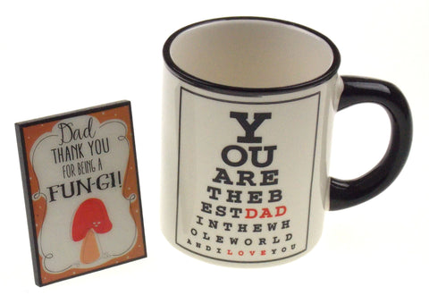 Eye Chart Mug Best Dad Fun-gi Sign Birthday Holiday Christmas Gift I Love You