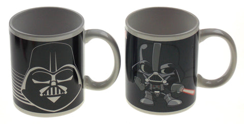 Zak! Star Wars Darth Vader Coffee Mugs Set 2 Black Gray Mug 12 oz Helmet Cartoon