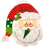 Large Santa Head Count Down Until Christmas Wood Calendar Wall Hanging Sparkles - FUNsational Finds - 1