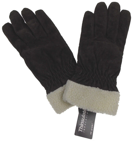Jaclyn Smith Leather Suede Gloves 3M Thinsulate Lined Dark Brown Winter Driving - FUNsational Finds - 1