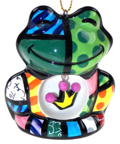 Artist Romero Britto Christmas Tree Ornaments Dog House Frog Crown Set 2 Collect - FUNsational Finds - 1