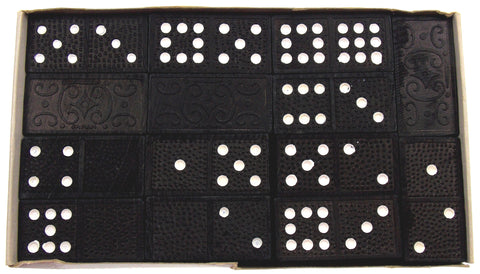 Vintage Alco Deluxe 41 Dominoes Game Double Nine Made in Japan Box Black Wood - FUNsational Finds - 1