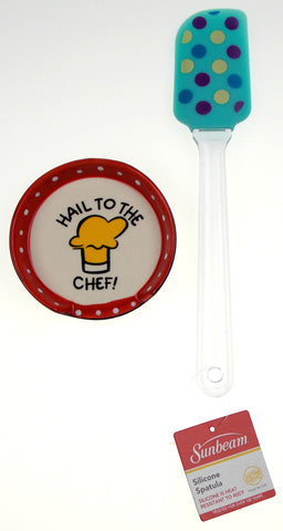Hail To The Chef Ceramic Spoon Rest Silicone Spatula Blue Polka Dots Set 2 Gift - FUNsational Finds - 1