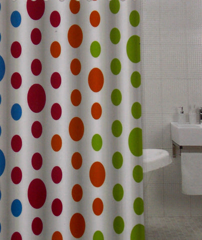 Polka Dots Fabric Shower Curtain Water Repellent 72\