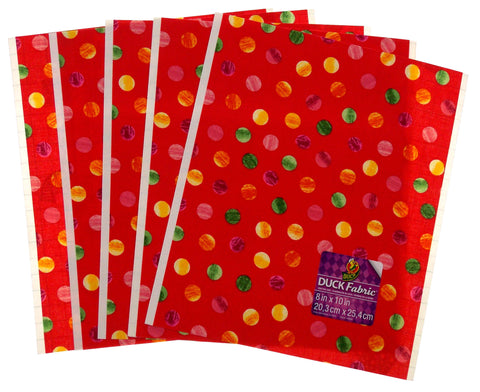 "Lot 24 Duck Fabric Crafting Tape Sheet Red Coral Polka Dots 8 x 10"" Decorate DIY - FUNsational Finds"