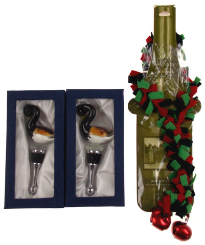 Duck Art Glass Metal Wine Stopper Xmas Gift Set 3 Artistic Creations Hand Made - FUNsational Finds - 1