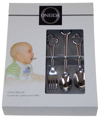 Oneida Duckling 3 Pc Baby Set Silverware Flatware 18/10 SS Feeder Spoon Fork - FUNsational Finds - 1